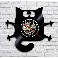 輸入雑貨 黒猫 ネコ 猫 キャット 壁アート ヴィンテージ 30cm レコード盤 壁掛け時計 人気  インテリア ディスプレイ 8種類展開 4