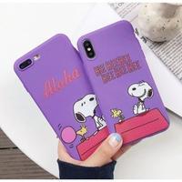 輸入雑貨 スヌーピー ケータイケース Snoopy ケータイカバー  iphone X ケース 最大種類 iphone 8 7 6 6 s-plus 小屋上パープル