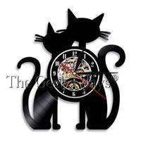 輸入雑貨 黒猫 ネコ 猫 キャット 壁アート ヴィンテージ 30cm レコード盤 壁掛け時計 人気  インテリア ディスプレイ 13種類展開 2