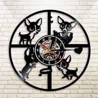 輸入雑貨 チワワ 犬 ドッグ Dog 壁アート ヴィンテージ 30cm レコード盤 壁掛け時計 人気  インテリア ディスプレイ