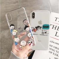 輸入雑貨 スヌーピー仲間たち snoopy  iphone XR XsMAX 最大種類 iphone 8 7 6 6 s-plus  クリアWeLOVE