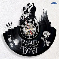 輸入雑貨 美女と野獣 30cm レコード盤 壁掛け時計 アニメ 映画 人気  インテリア ディスプレイ 8種類展開 4