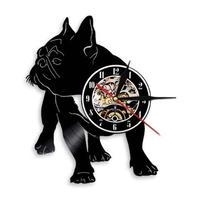 輸入雑貨 フレンチブル ドッグ 犬 Dog 壁アート ヴィンテージ 30cm レコード盤 壁掛け時計 人気  インテリア ディスプレイ 4