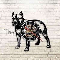 輸入雑貨 ピットブル 犬 ドッグ Dog 壁アート ヴィンテージ 30cm レコード盤 壁掛け時計 人気  インテリア ディスプレイ