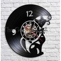 輸入雑貨 黒猫 ネコ 猫 キャット 壁アート ヴィンテージ 30cm レコード盤 壁掛け時計 人気  インテリア ディスプレイ 8種類展開 12