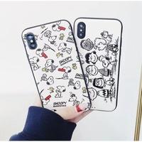 輸入雑貨 スヌーピー ケータイケース snoopy ケータイカバー  iphone X 最大種類 iphone 8 7 6 6 s-plus モノトーン ピーナッツ仲間