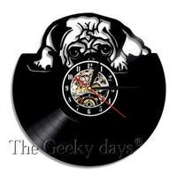 輸入雑貨 パグドッグ 犬 Dog 壁アート ヴィンテージ 30cm レコード盤 壁掛け時計 人気  インテリア ディスプレイ 4