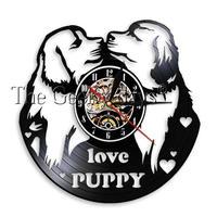 輸入雑貨 I LOVE パピードッグ 犬 Dog 壁アート ヴィンテージ 30cm レコード盤 壁掛け時計 人気  インテリア ディスプレイ 6
