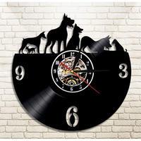 輸入雑貨 ワンコ達 犬 ドッグ Dog 壁アート ヴィンテージ 30cm レコード盤 壁掛け時計 人気  インテリア ディスプレイ