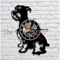 輸入雑貨 シュナウザー 犬 ドッグ 壁アート ヴィンテージ 30cm レコード盤 壁掛け時計 人気  インテリア ディスプレイ 2種類展開 1