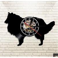 輸入雑貨 コリー 犬 ドッグ Dog 壁アート ヴィンテージ 30cm レコード盤 壁掛け時計 人気  インテリア ディスプレイ