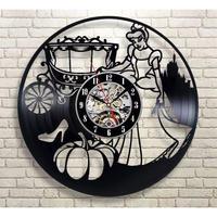 輸入雑貨 シンデレラ 30cm レコード盤 壁掛け時計 アニメ 映画 人気  インテリア ディスプレイ
