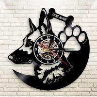 輸入雑貨 シェパード 犬 ドッグ Dog 壁アート ヴィンテージ 30cm レコード盤 壁掛け時計 人気  インテリア ディスプレイ
