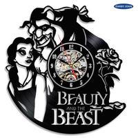 輸入雑貨 美女と野獣 30cm レコード盤 壁掛け時計 アニメ 映画 人気  インテリア ディスプレイ 5種類展開 4