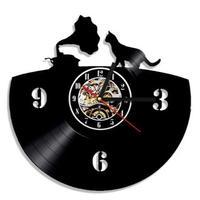 輸入雑貨 レコード 猫 ネコ キャット 壁アート ヴィンテージ 30cm レコード盤 壁掛け時計 人気  インテリア ディスプレイ  22