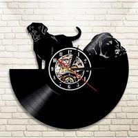 輸入雑貨 ラブラドール 犬 ドッグ Dog 壁アート ヴィンテージ 30cm レコード盤 壁掛け時計 人気  インテリア ディスプレイ