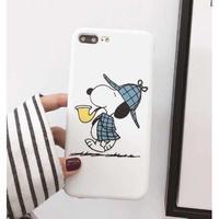 輸入雑貨 スヌーピー ケータイケース snoopy ケータイカバー  iphone XR XsMAX 最大種類 iphone 8 7 6 6 s-plus 探偵 ホワイト