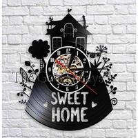 輸入雑貨 SWEET HOME 壁アート ヴィンテージ 30cm レコード盤 壁掛け時計 人気  インテリア ディスプレイ 3種類展開 3