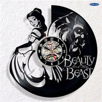輸入雑貨 美女と野獣 30cm レコード盤 壁掛け時計 アニメ 映画 人気  インテリア ディスプレイ 8種類展開 6