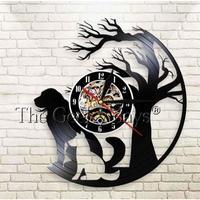 輸入雑貨 ウッドドッグ 犬 ドッグ Dog 壁アート ヴィンテージ 30cm レコード盤 壁掛け時計 人気  インテリア ディスプレイ