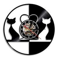 輸入雑貨 愛猫 ネコ 猫 キャット 壁アート ヴィンテージ 30cm レコード盤 壁掛け時計 人気  インテリア ディスプレイ 14