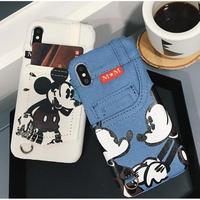 輸入雑貨 ミッキー ミニー ディズニー ケータイカバー  iphone XR XsMAX 最大種類 iphone 8 7 6 6 s-plus デニムミニーミッキー