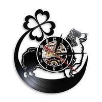 輸入時計 コーギー 犬 掛け時計 壁アート ヴィンテージ 30cm レコード盤 人気 インテリア GIT-1294 ディスプレイ  29