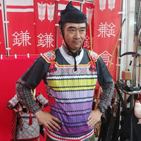 【予約販売】鎧風Tシャツ 紫絲の裾濃(すそご)縅の胴丸タイプ -ドライTシャツ-