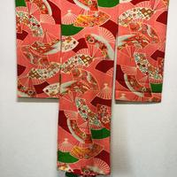 材料用 アンティーク 紋錦紗扇柄一ツ身女児着物(1週間以内に出荷)