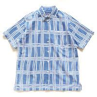 【晒シャツ】メンズ向け半袖 組格子  水色