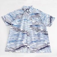 【晒シャツ】メンズ向け半袖 飛び魚 白地