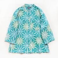 【晒シャツ】レディース向け七分袖 麻の葉切子 青緑