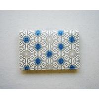 【文庫革】カードケース 麻の葉松  青
