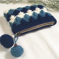 knit pouch❃ネイビー