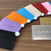 Kamipita LOGO刻印入  キャッシュカードサイズの手鏡 (持ち手付)  10色から選べるPU製カバー付