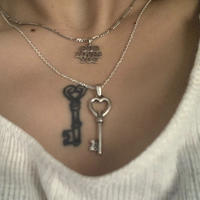 *Limited  Silver Heart Key Tattoo Top  (M)× O Necklace SET
