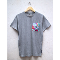 エシカルコットンTシャツ unisex / Lサイズ Grey(Optimistic Guinea Fowl Pocket)