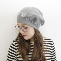 おしゃれモチーフニット帽2色(黒・グレー)