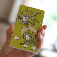 モバイルバッテリー 猫とカエル風神雷神図(マスタード)