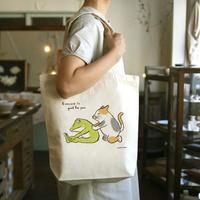 トートバッグ 猫とカエルがストレッチ(受注生産・送料無料)