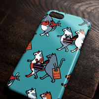スマホケース 猫たち行進(ターコイズ)