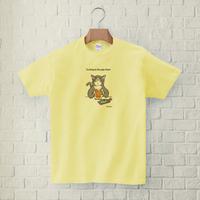Tシャツ「猫がビール」(ライトイエロー)男女兼用【受注生産・送料無料】
