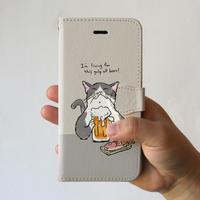 スマホケース 猫が乾杯(ライトグレー)