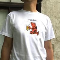 Tシャツ「ヤドクガエル乾杯・レッド」(ホワイト)男女兼用【受注生産・送料無料】
