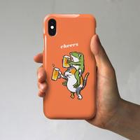 スマホケース 猫とカエルが乾杯!(オレンジ)