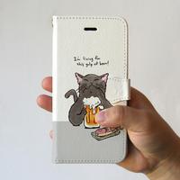 スマホケース 猫が乾杯(ホワイト×黒猫)