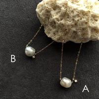 NATURAL AKOYA + DIAMOND NECKLACE