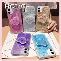 【No.332】ラメ ハートデザイン スタンドホルダー付き iPhoneケース 5種類