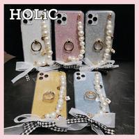 【No.249】 グリッター柄 チェーンストラップリングホルダー付き  iPhoneケース 5種類
