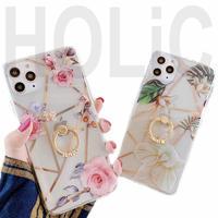 【No.5】花柄 クリアケース リング・スタンドホルダー付き iPhoneケース 2種類